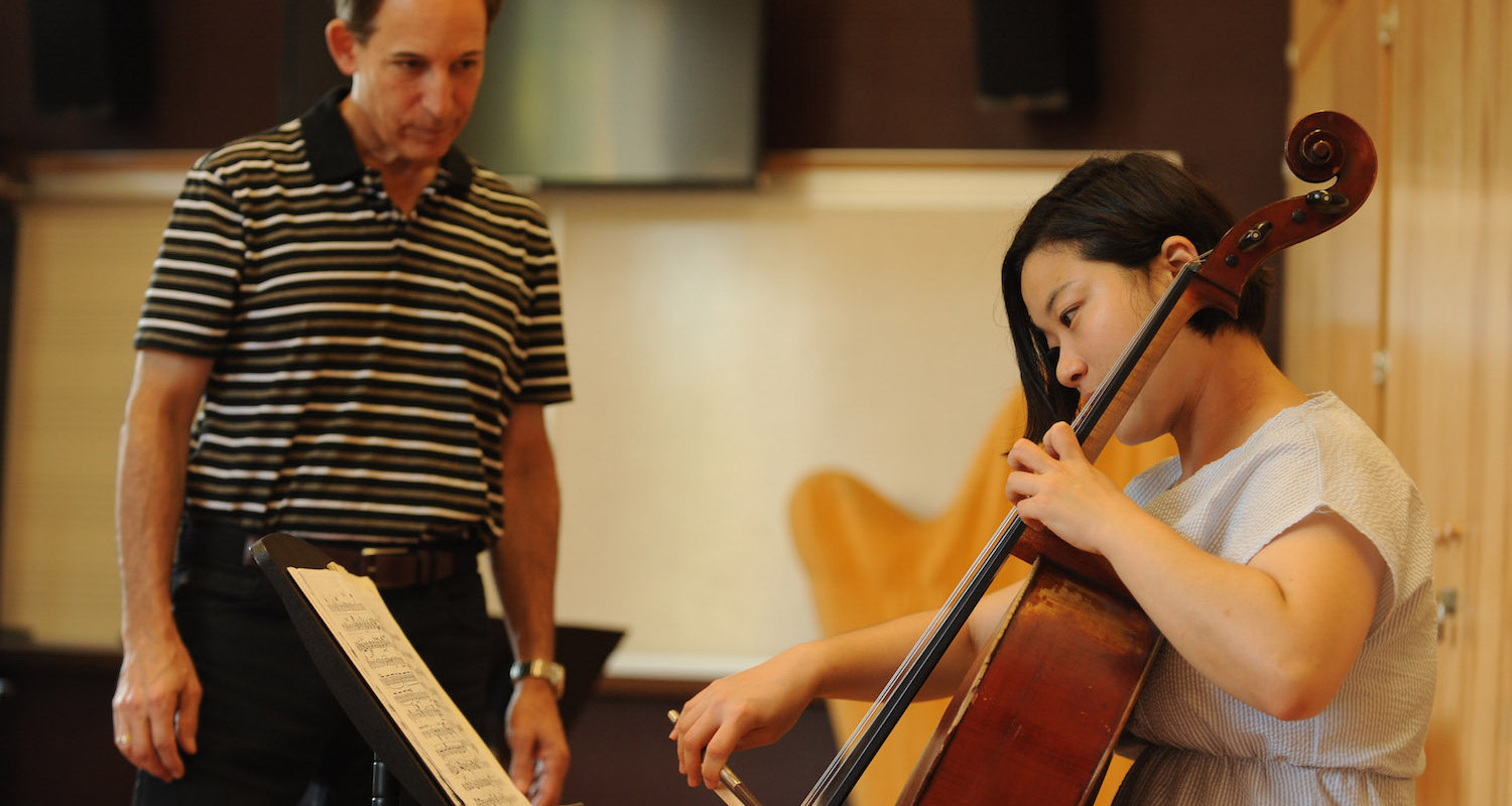 First Assistant Principal Cello of The Cleveland Orchestra, Richard Weiss during a lesson at KBMF