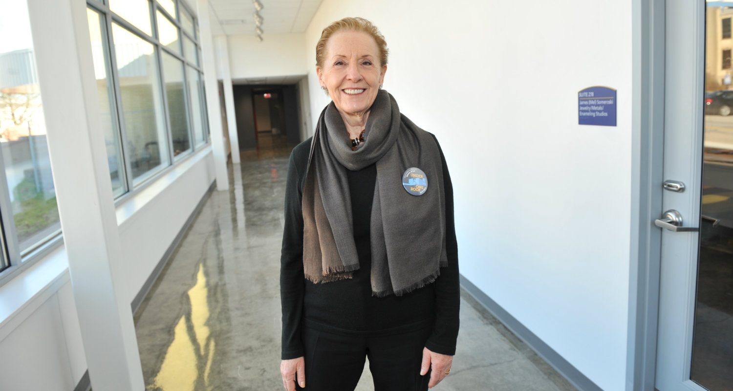 School of Art Alumna Linda Allard enjoyed a tour of the new CVA