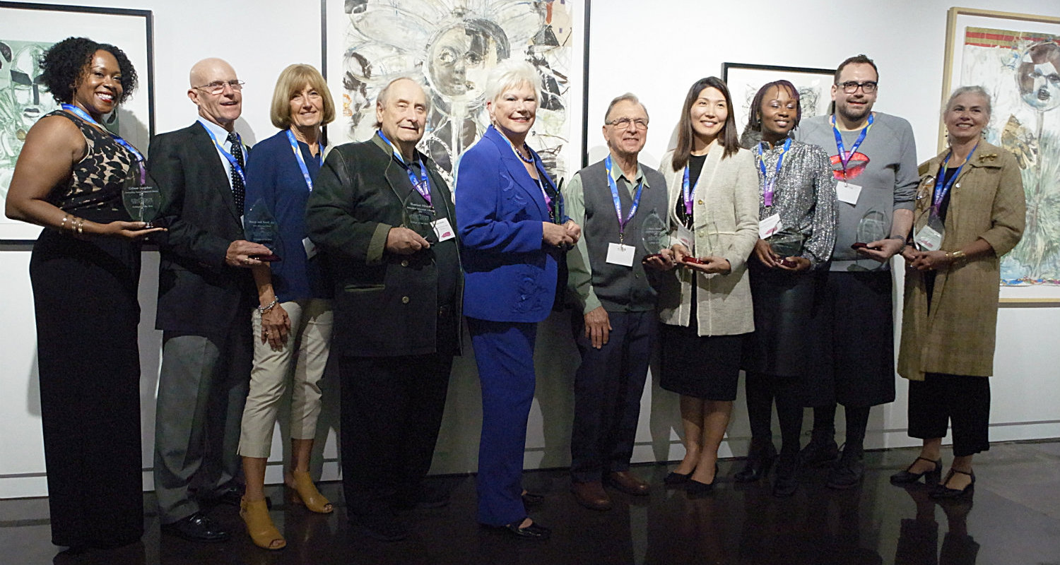 Faculty and alumni who were recently inducted into the newly created College of the Arts Hall of Fame, including alumna and philanthropist Roe Green who was awarded the Centennial Award.  Photo by Michael Loderstedt.