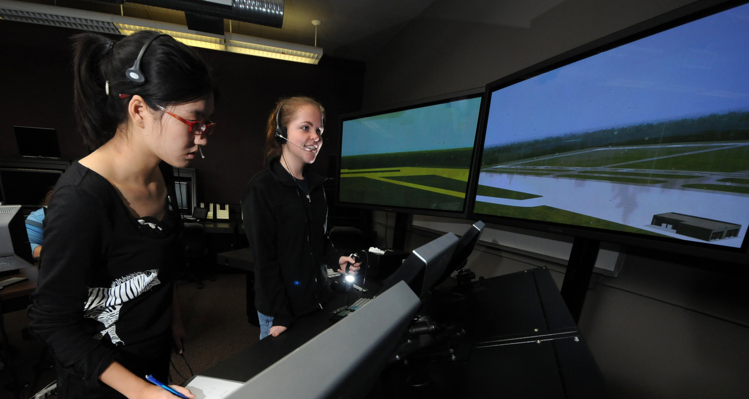Students working in air traffic control
