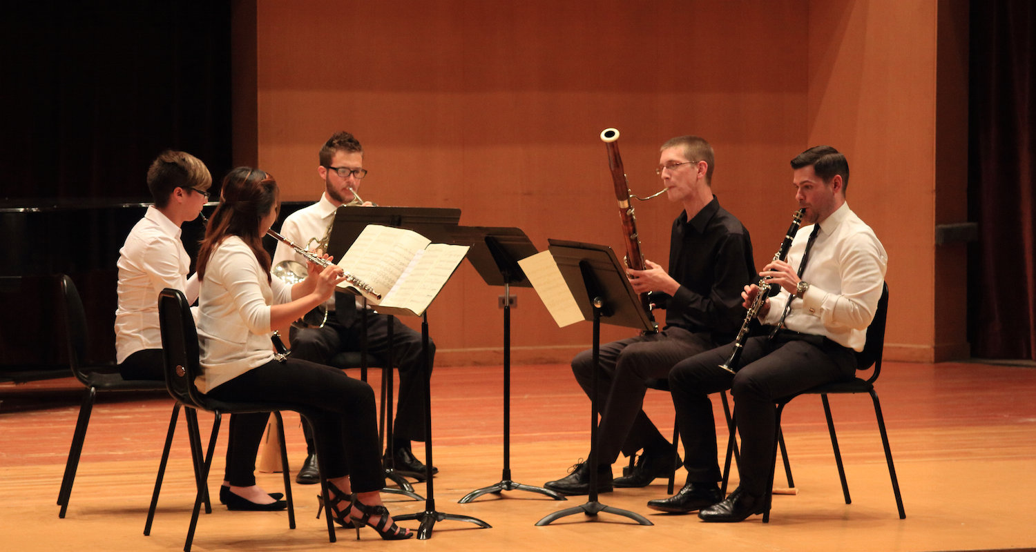 Woodwind Quintet performing in Ludwig Recital Hall