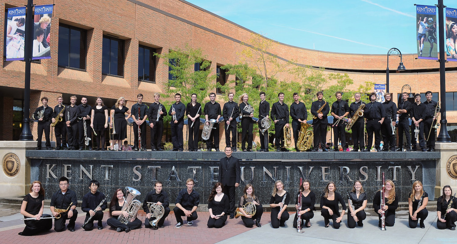 Wind Ensemble at the Kent State University Fountain in Risman Plaza