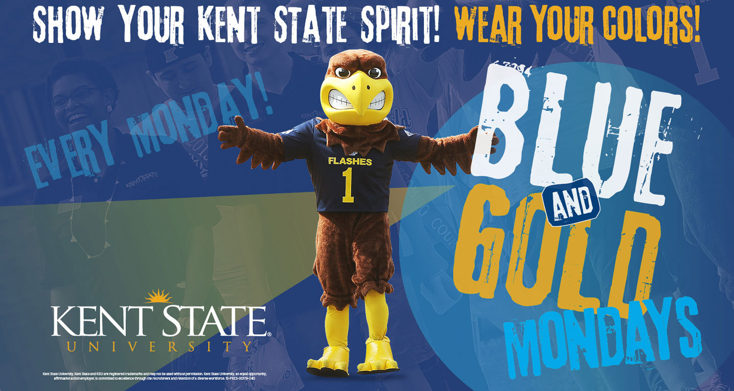Show your Kent State pride by wearing blue and gold each Monday throughout the 2015-16 academic year on the East Liverpool and Salem campuses.