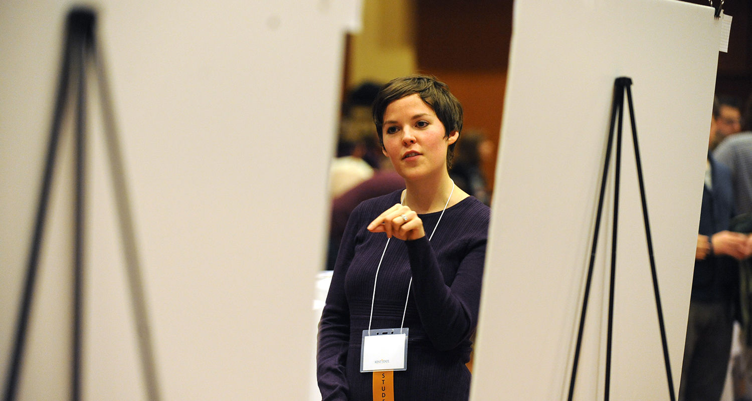 A Kent State student gives a presentation about her research project during the Undergraduate Research Symposium.
