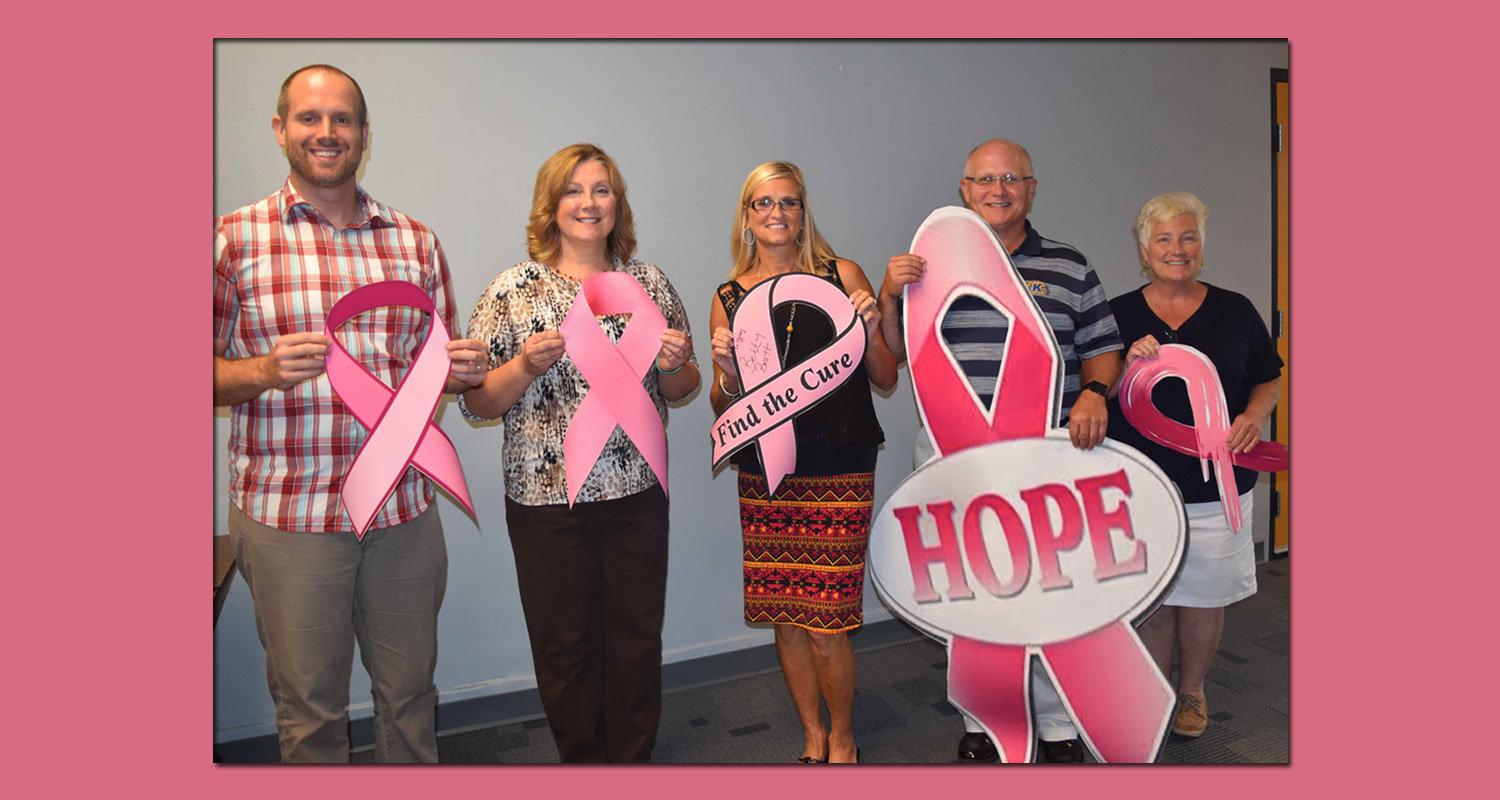 Part of the pink ribbon crew on the East Liverpool Campus