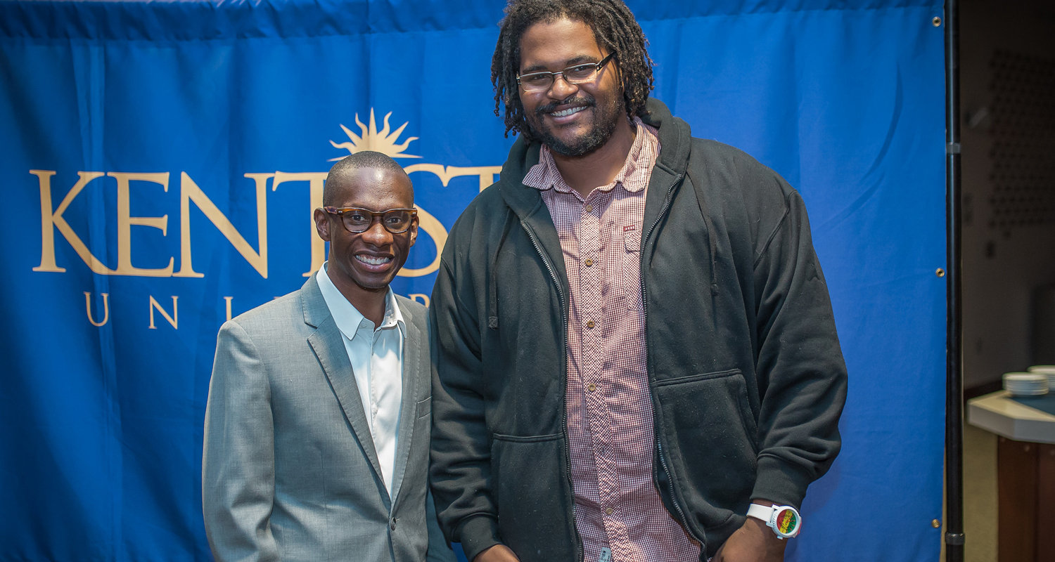 Jamil Smith (right), a student at Kent State University at Stark, met Troy Carter, a music producer and entrepreneur, at one of Kent State Stark's Featured Speakers Series programs, which led to an internship opportunity for Smith.
