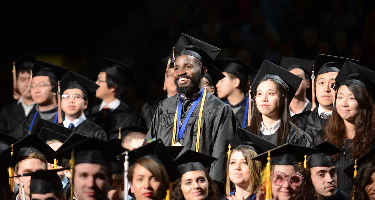 Kent State's international students are recognized during the Fall Commencement ceremony.