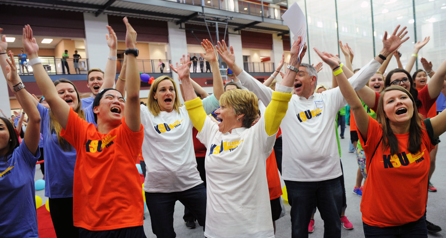 President Beverly Warren joins students, employees and trustees for the Flash-A-Thon Dance Marathon in the Student Recreation and Wellness Center. Flash-A-Thon is a nonprofit philanthropic organization that benefits Akron Children's Hospital.