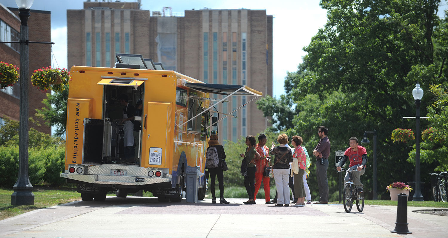 Kent State's Fork in the Road food truck is parked along the Lefton Esplanade to serve the lunchtime crowd.