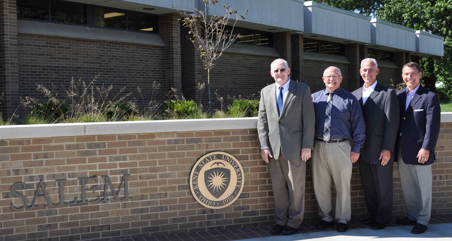 Meeting to discuss the new Gem Young Insurance Scholarship at Kent State University were (from left) Tim McFadden, Dr. David Dees, Terry Daprile and Leo Daprile.