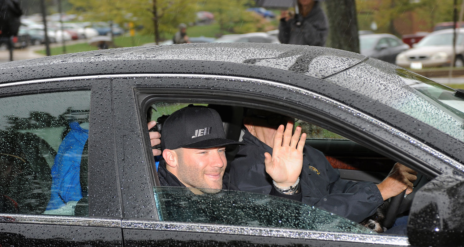 Kent State alumnus and Super Bowl champion Julian Edelman waves to fans while serving as Kent State's Homecoming Parade Grand Marshal for 2015.