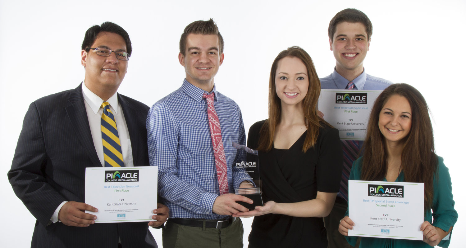 Pictured with the 2015 Pinnacle Awards are members of this year's TV2 team, from left to right, Mitchell Felan, Ryan Dunn, Vivian Feke, Tyler Carey and Jenson Strock.