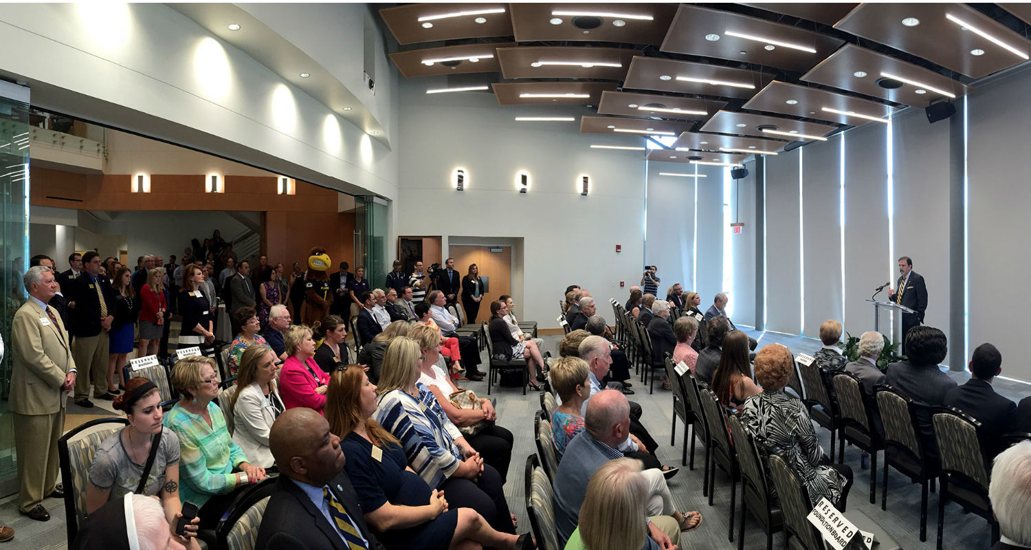 Pictured is an overall view of the grand opening of the new Center for Philanthropy and Alumni Engagement.