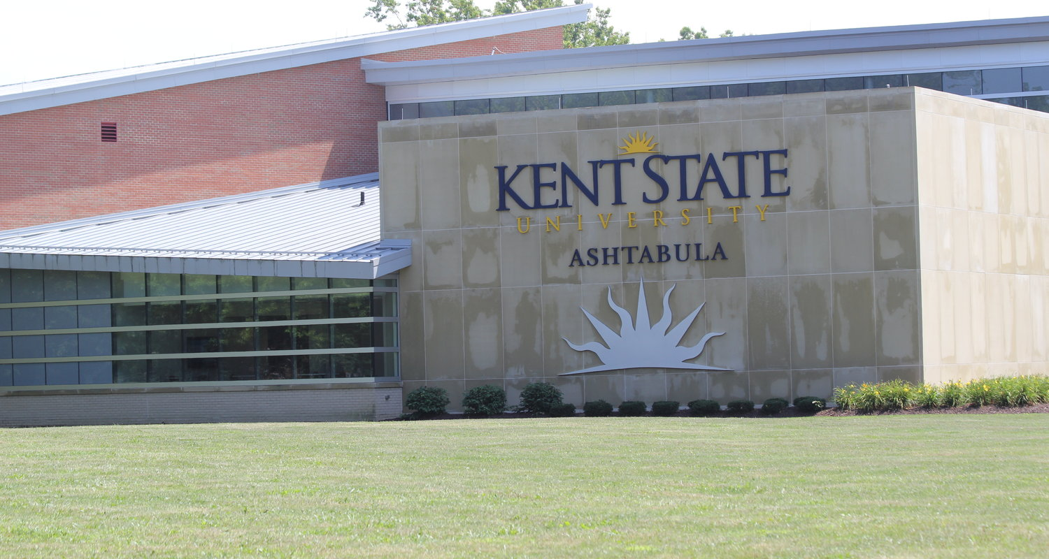 Exterior shot of the Robert S. Morrison Health & Science Building emblazoned with the Kent State Ashtabula logo