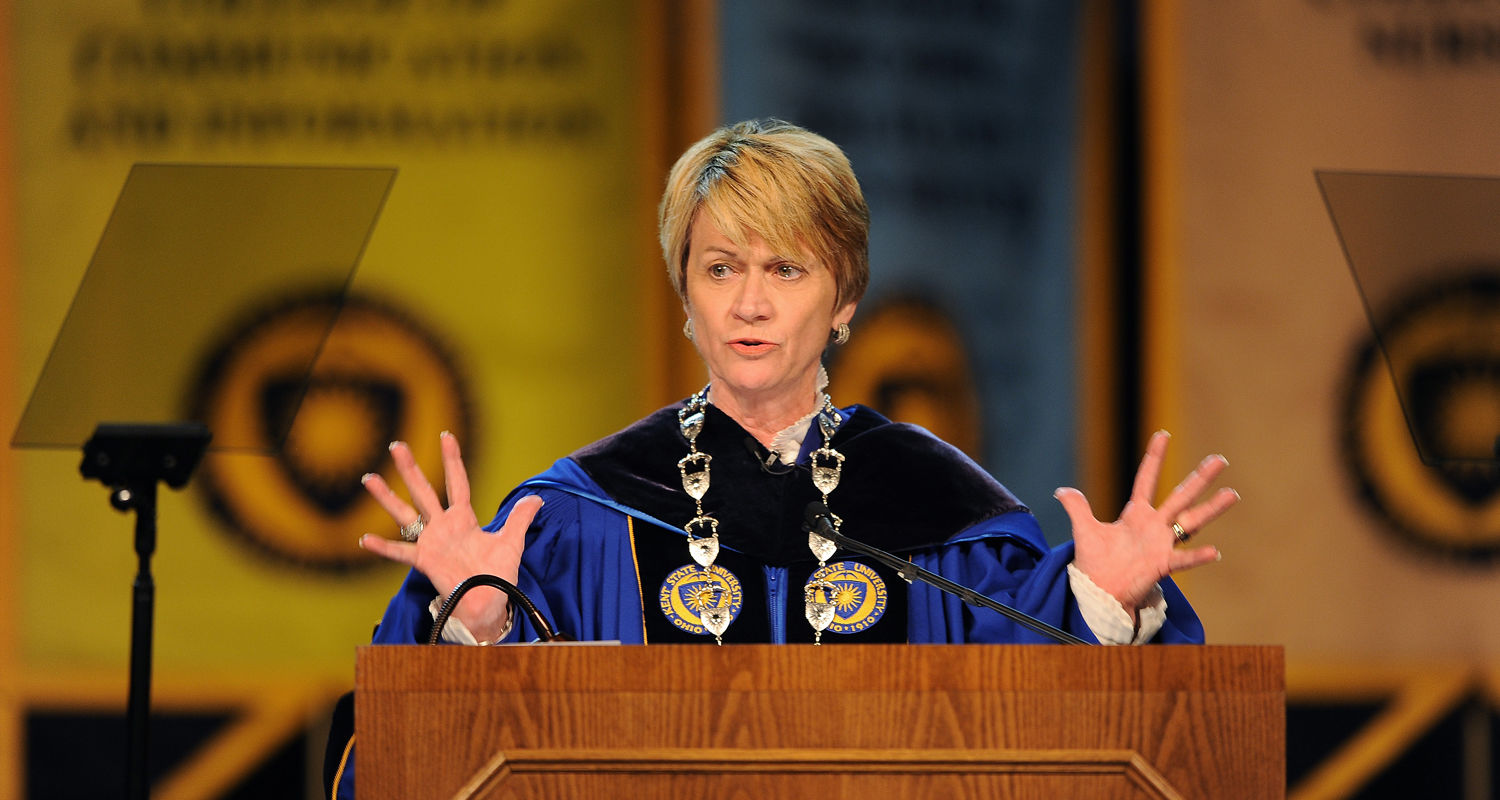 Kent State President Beverly Warren makes a point during her inaugural address to faculty, staff, students, alumni and distinguished guests in the Memorial Athletic and Convocation Center.