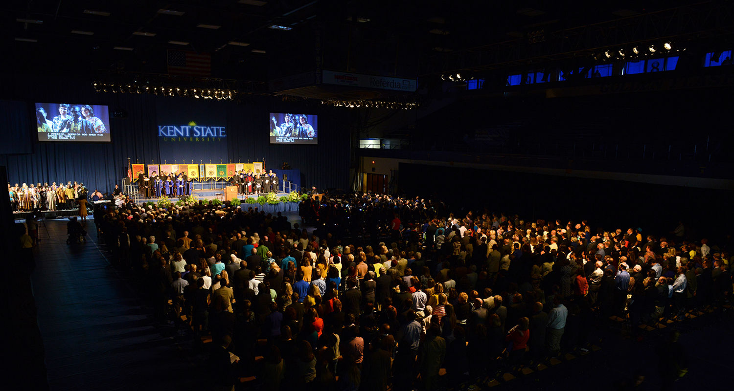 Faculty, staff, students, alumni and guests fill the Memorial Athletic and Convocation Center for the inauguration of Beverly Warren as Kent State's 12th president.