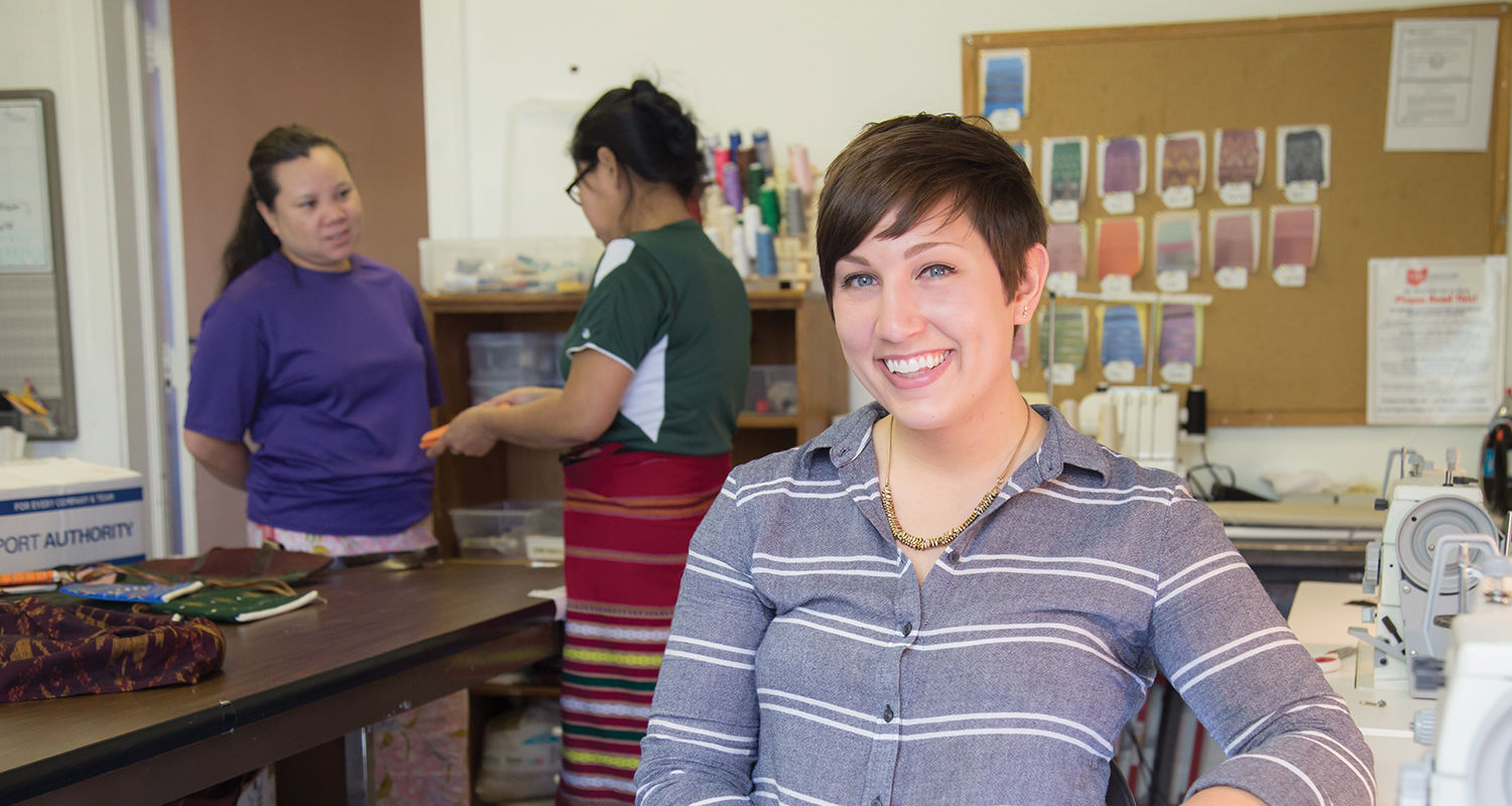 Tessa Reeves at her Neighbors Apparel workspace in the North Hill neighborhood of Akron.