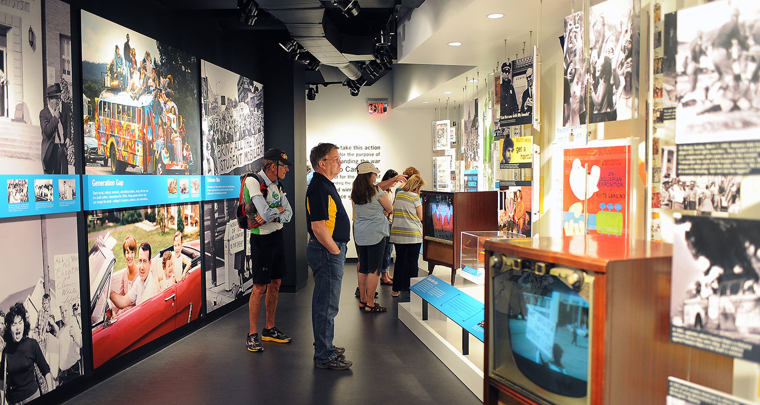 Visitors to the Kent State campus view the displays in the May 4 Visitors Center, located in Taylor Hall, on the 45th annual commemoration of May 4, 1970.