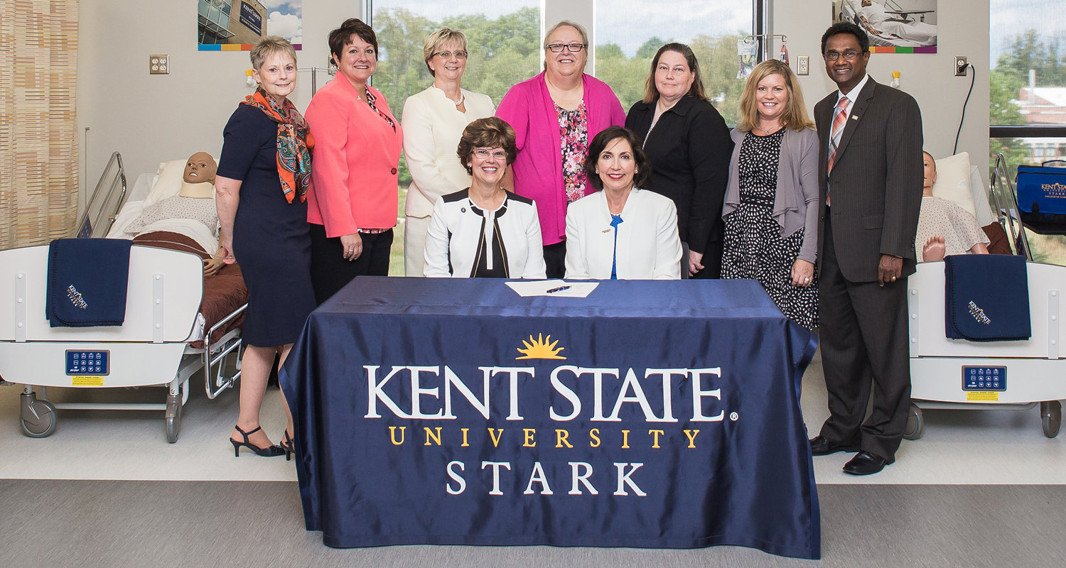 A nursing articulation agreement was signed between Kent State Stark and Stark State College giving Stark State ADN students a direct path to a BSN degree at Kent State Stark.