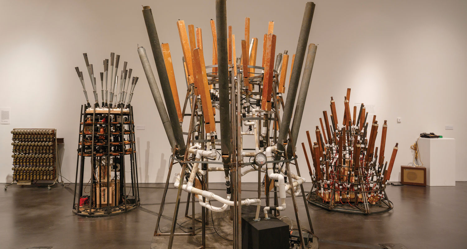 Myopia at MOCA Cleveland focuses on sound, sound-making objects and artworks about correspondence, communication and technology. The exhibit includes Mothersbaugh's Orchestrions. Photo: Trevor Brown Jr., courtesy the Museum of Contemporary Art Denver