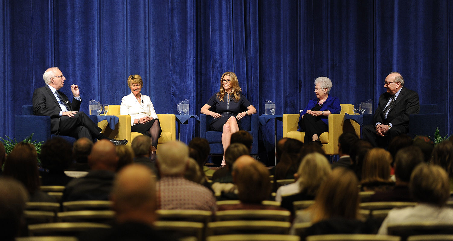 Past and present Kent State presidents Lester Lefton (left), Beverly Warren, Carol Cartwright and Michael Schwartz share their presidential perspectives during a panel discussion moderated by CNN news anchor and Kent State alumna Carol Costello (center).