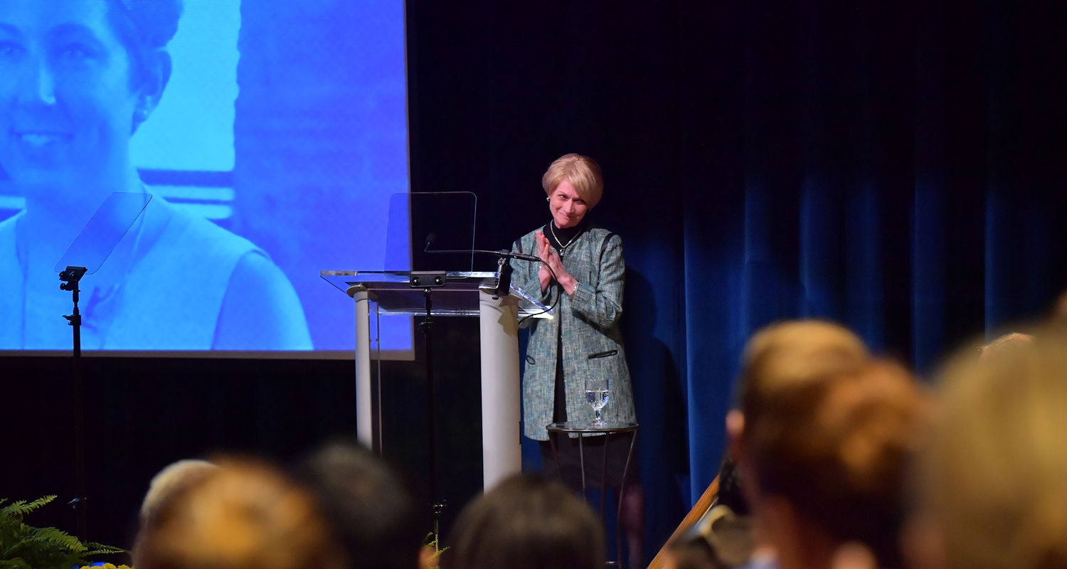 Kent State President Beverly Warren receives a standing ovation following her 2016 State of the University address.