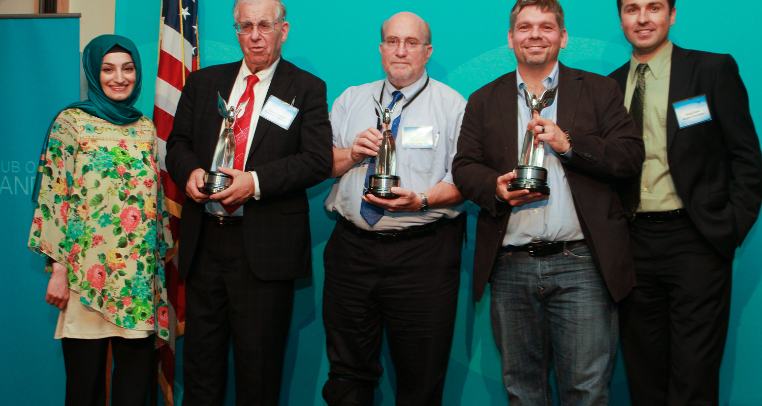 Josh Stacher and other members of the NE Ohio Consortium on Middle East Studies, accept Education Awards.