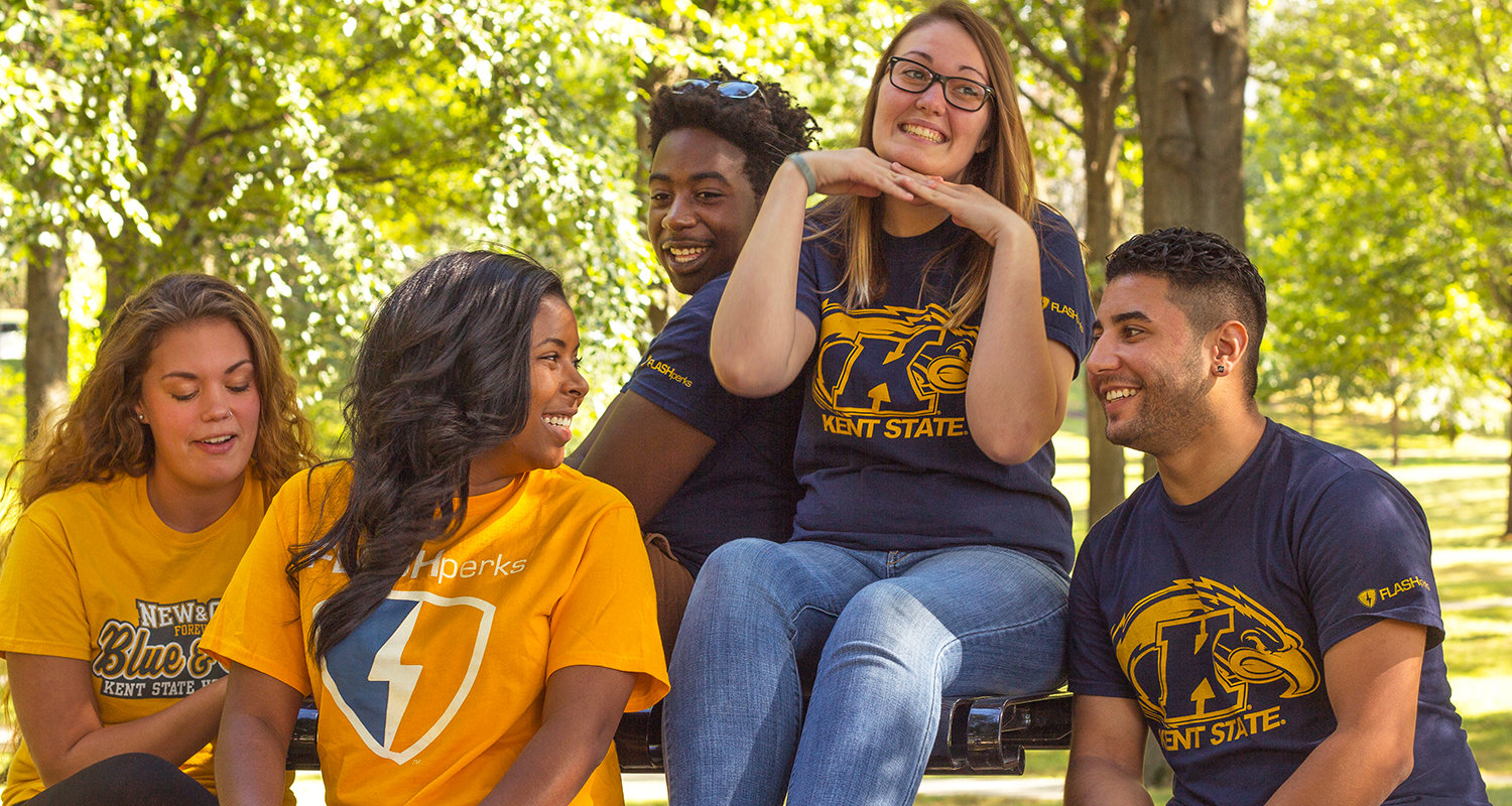 Students show their Kent State pride by wearing blue and gold. Members of the Kent State community are encouraged to wear something blue and gold each and every Friday.