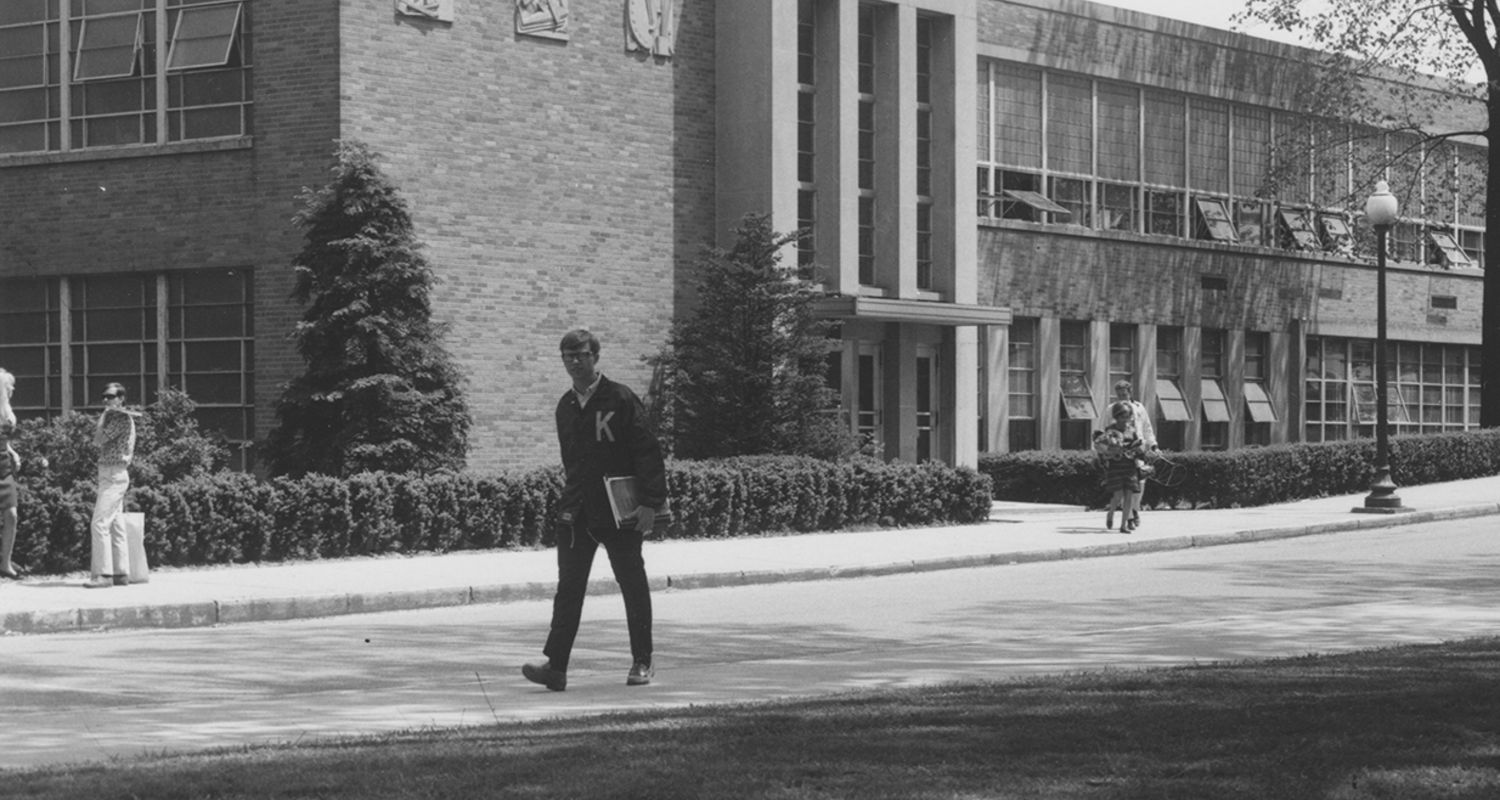 Van Deusen Hall (shown circa 1950s) was once the home of the industrial arts program.