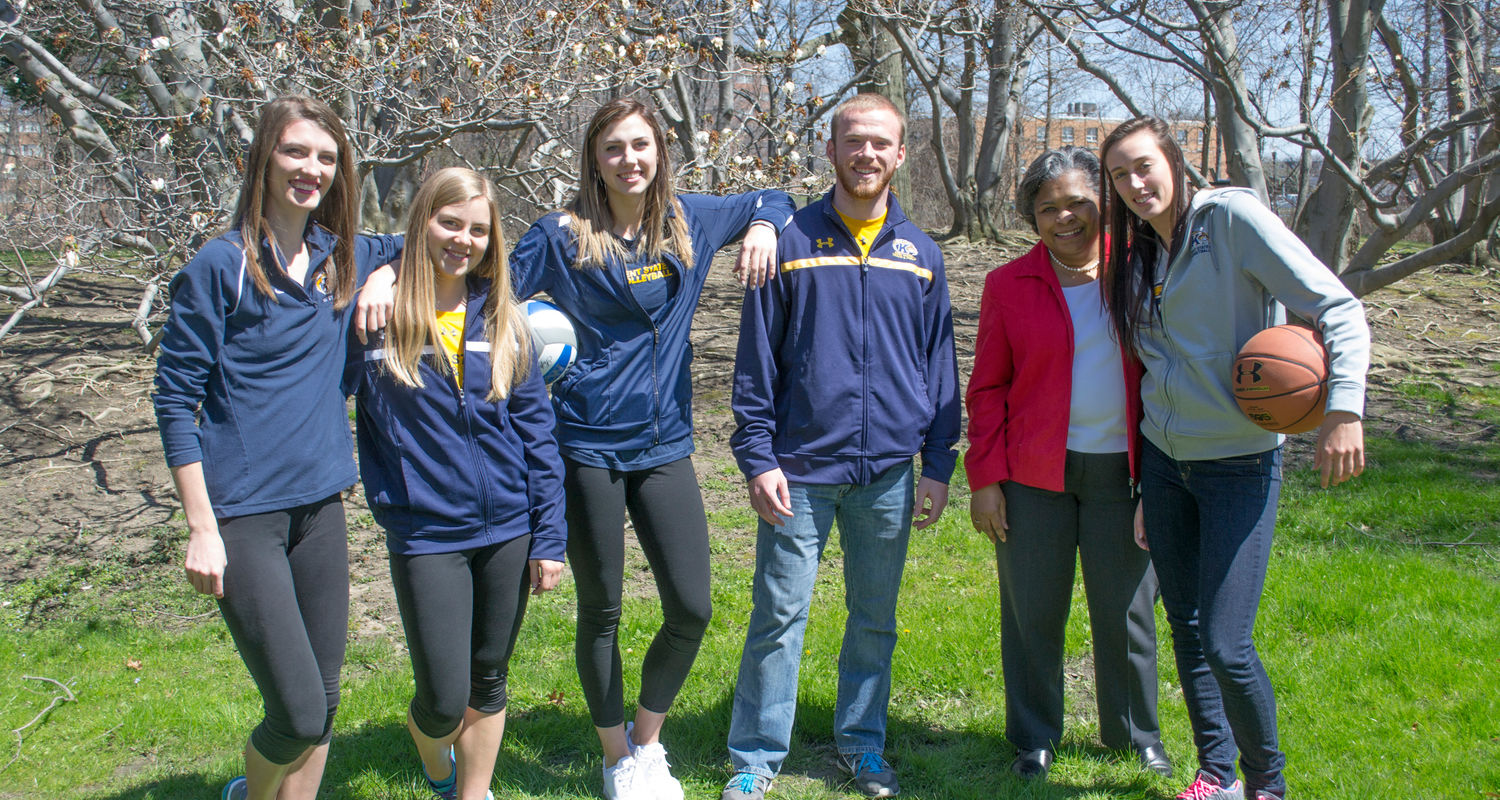 Dean Barbara Broome, second from the right, takes a break with student athletes from left to right: Kristen Bergmeyer, Morgan Bing, Brittney Jakscht, Isaiah Conkle and Larissa Lurken.