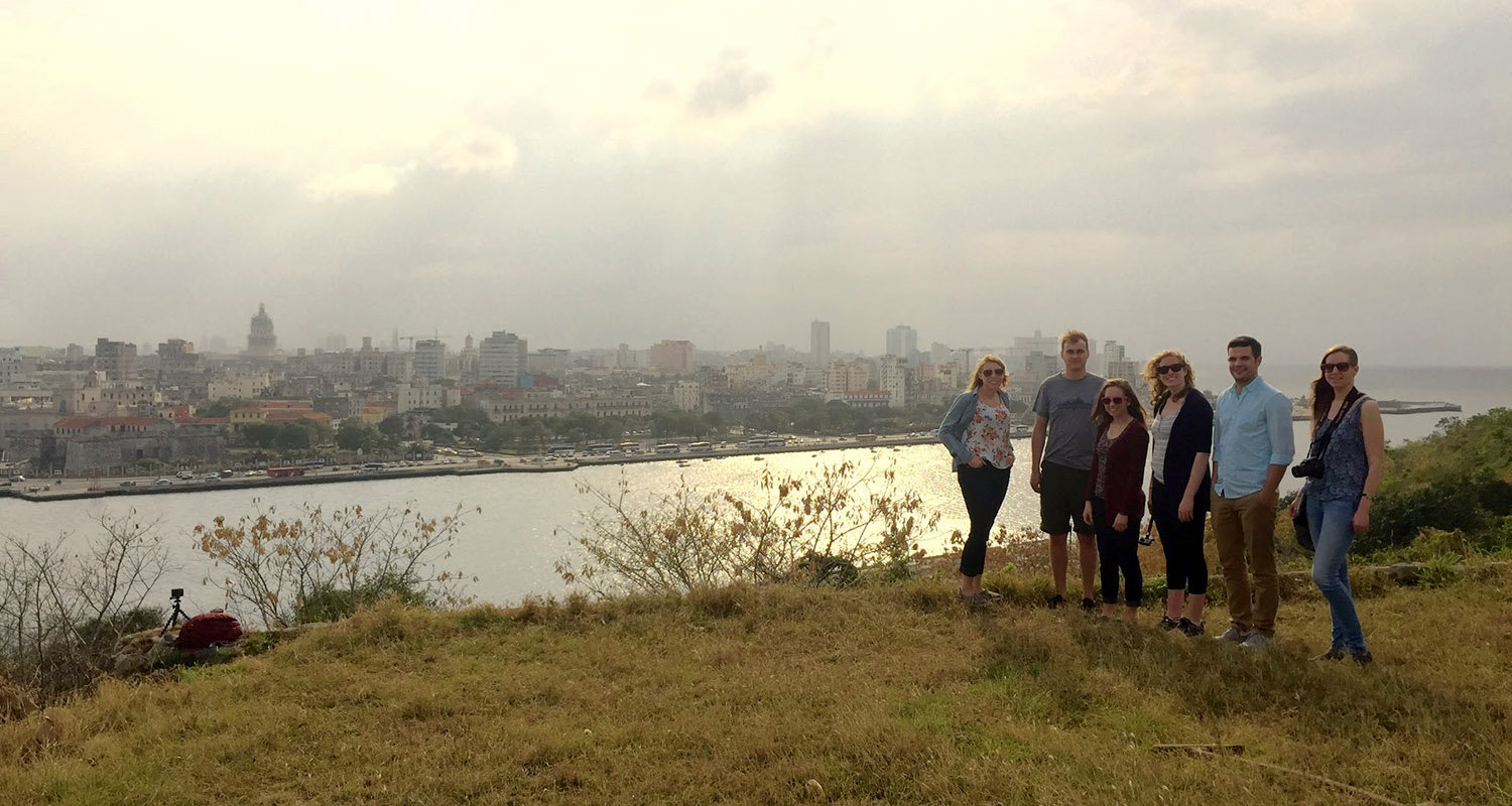 Kent State architecture and urban design students stand near the aging waterfront in Havana, Cuba, in an effort to design plans to help restore it. (Photo credit: Kent State's Cleveland Urban Design Collaborative)