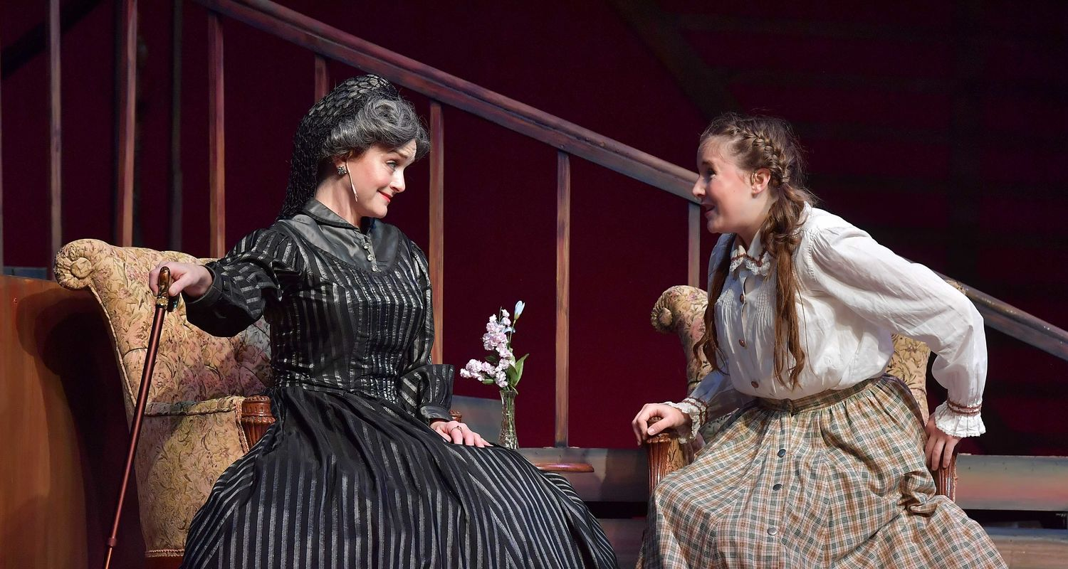 An MFA for the Returning Professional candidate (left) performs in a School of Theatre and Dance production.