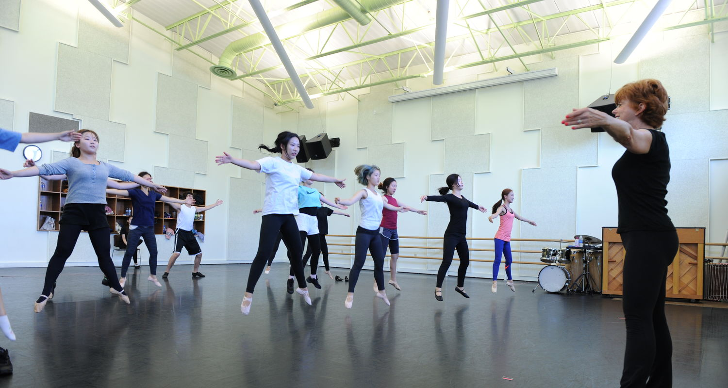 Participants in the Porthouse International Academy take a dance class with Assistant Professor MaryAnn Black