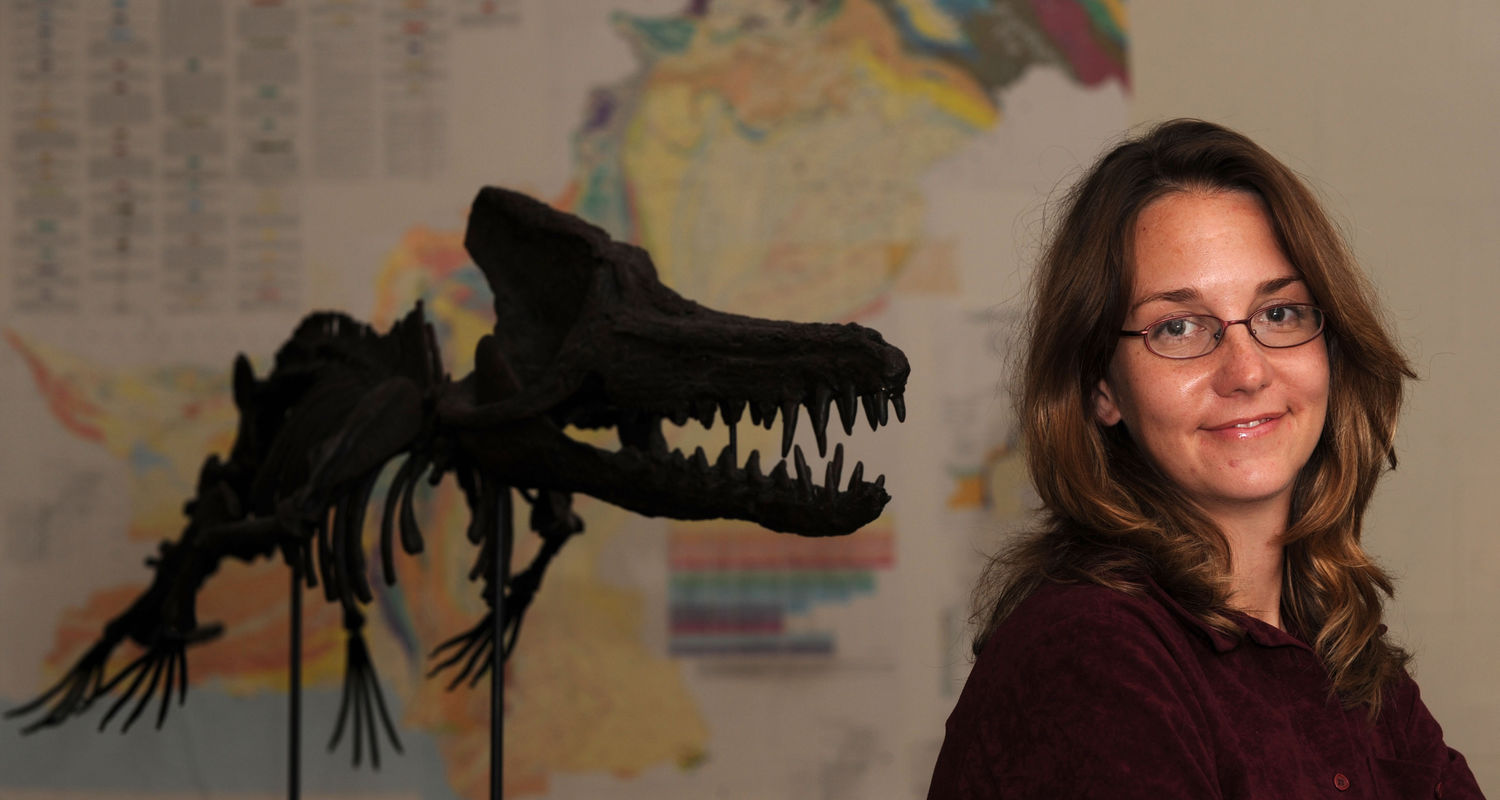 """Lisa Noelle Cooper, a doctoral student in cellular and molecular biology, poses near a reconstructed skeleton of the fossell whale """"Kutchicetus"""" at the Northeast Ohio University's College of Medicine. The bones of this whale were recovered in India."""