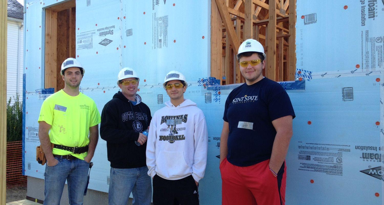 Construction Management students on construction site