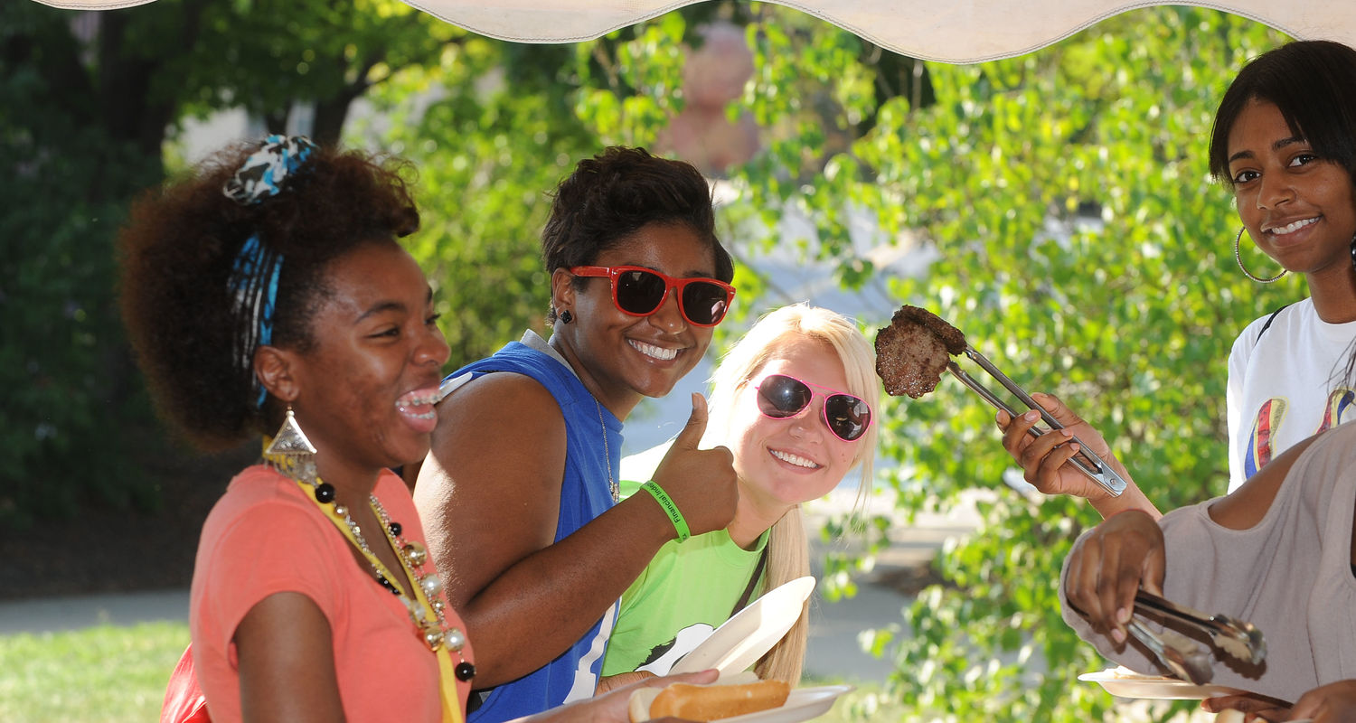 Students have fun at a department cookout.