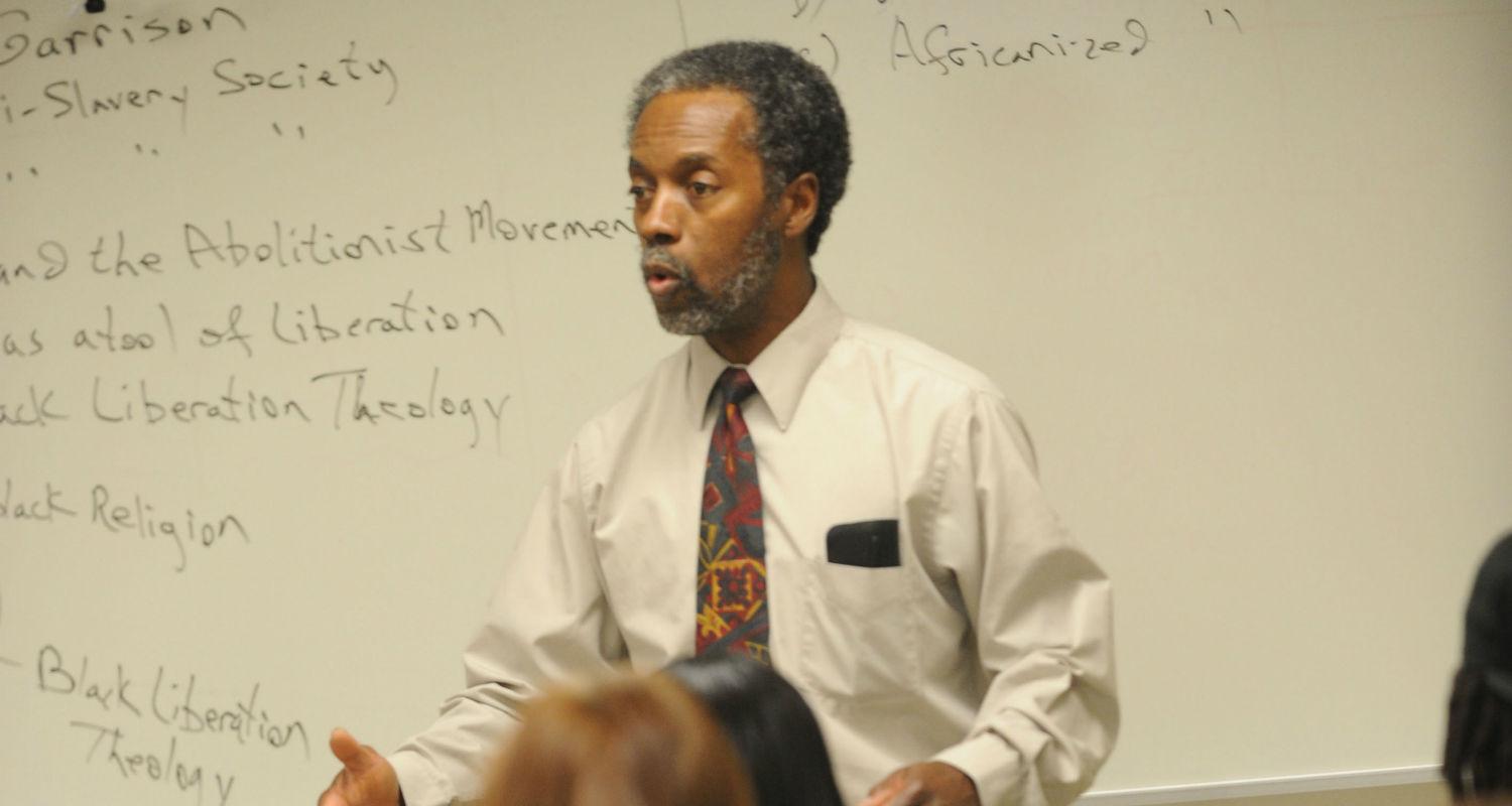 Dr. George Garrison, a professor of Pan-African Studies, teaches a class on African culture in Oscar Ritchie Hall.