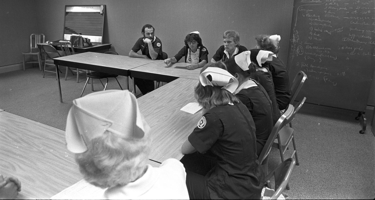 Students in a classroom, circa 1975