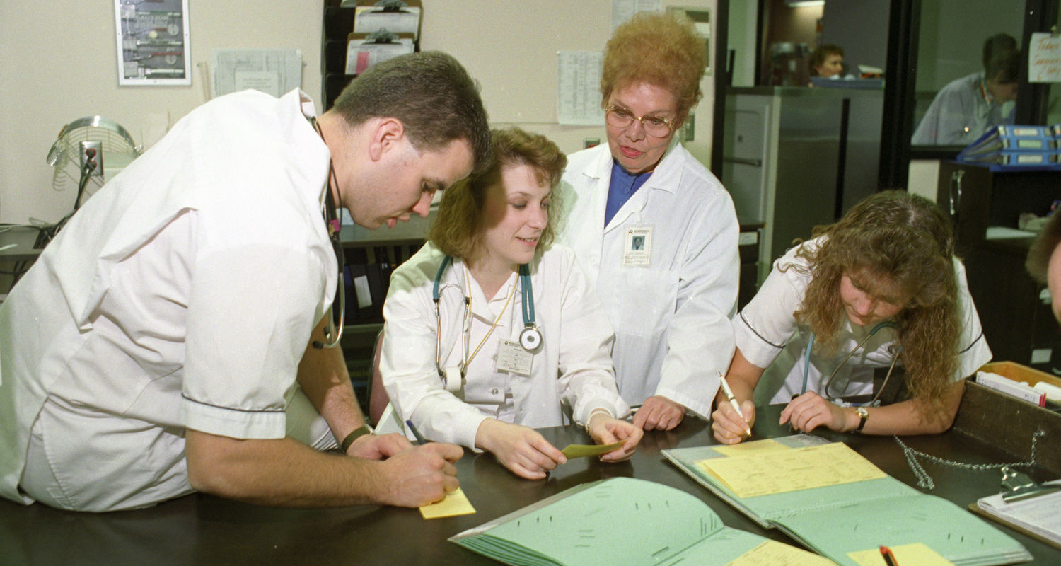 Students in clinicals at Robinson Memorial Hospital, circa late-1980's, early 1990's