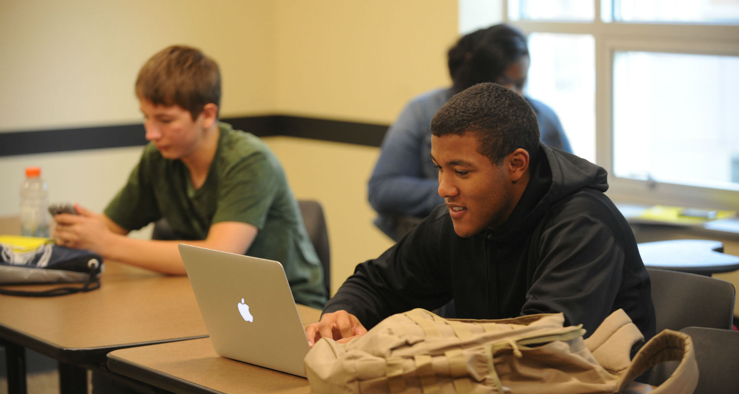 A student attends a seminar in the Department of Pan-African Studies.