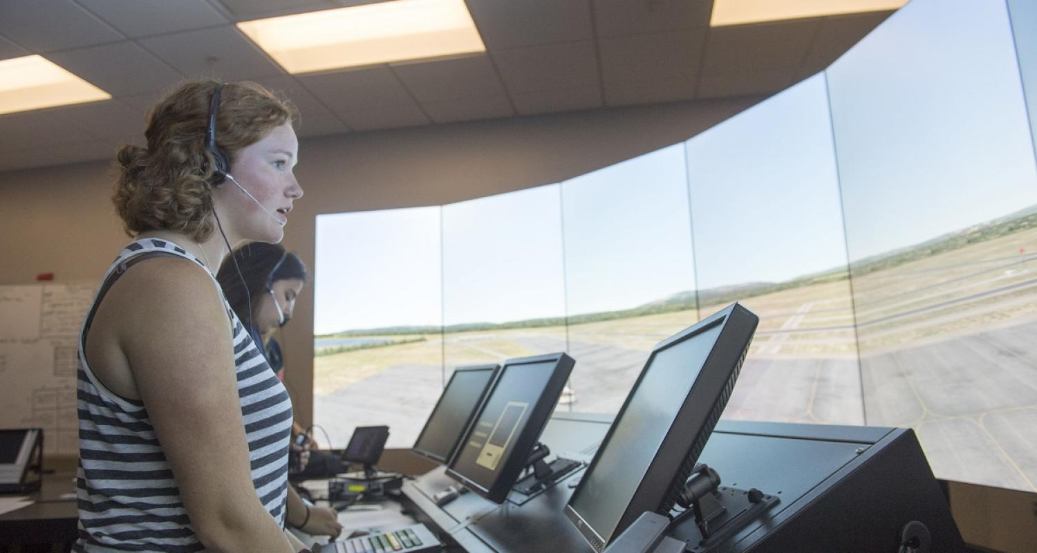 photo Air Traffic Control two female students in new ATC Lab