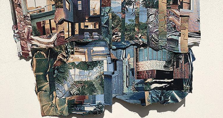 Jacquart weaving by Joe Karlovec of a collage of buildings and architecture
