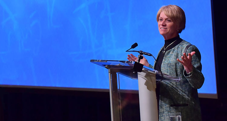"""Kent State University President Beverly Warren delivers the 2016 State of the University address, themed """"Living the Kent State Promise,"""" in the Kent Student Center Kiva."""