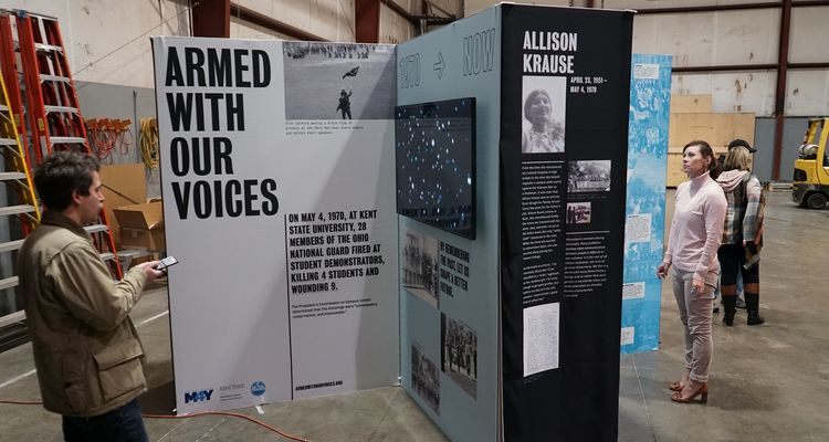 """The """"Armed With Our Voices"""" exhibit provides a powerful form of cross-generational connection that engages users in the events of May 4, 1970, and the importance of peace, conflict resolution and student activism today."""