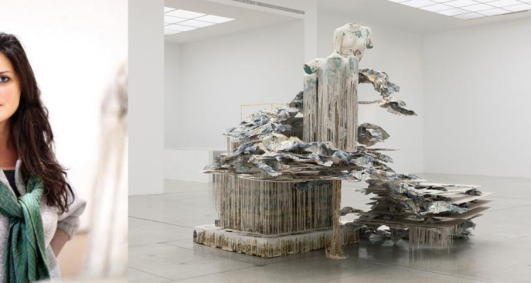 Diana Al-Hadid (left) and her sculpture Phantom Limb on the right