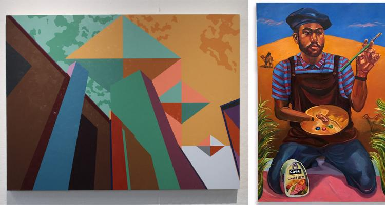 Three student paintings - one is geometric shapes, one is a painter with a palette and one is a half circle with abstract shapes