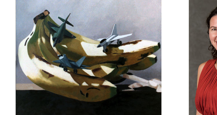 Fruits of Empire, painting of bananas and a photo of the author, Shana Klein