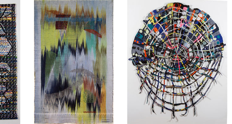 Textiles included in the Heights Arts Exhibition, Point-Line-Pattern-Plane