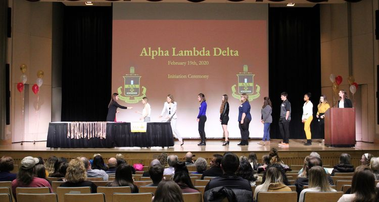Students on Stage During Alpha Lambda Delta Inductions
