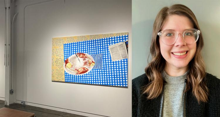 Image of three paintings in a gallery by MFA student Katie Butler and a picture of Katie on the right.